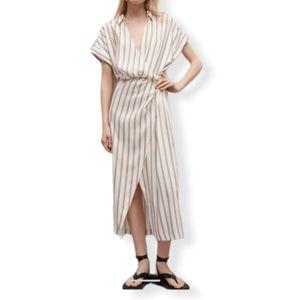 Zara striped draped midi dress